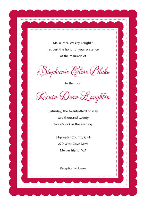 custom invitations - deep red - bella (set of 10)