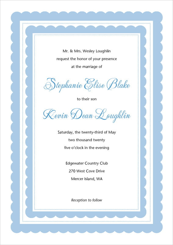 custom invitations - blue - bella (set of 10)