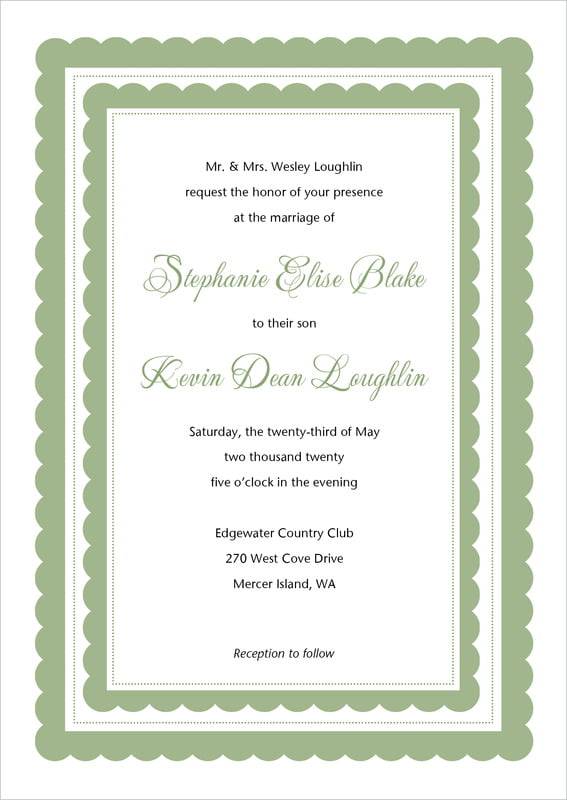 custom invitations - sage - bella (set of 10)