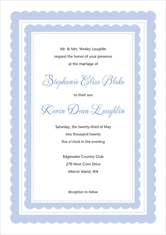 custom invitations - periwinkle - bella (set of 10)