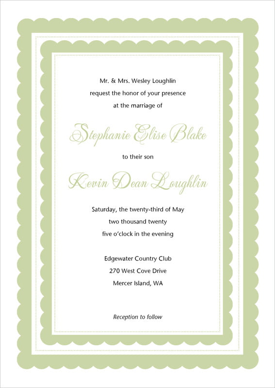 custom invitations - green tea - bella (set of 10)