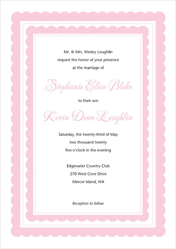 custom invitations - pale pink - bella (set of 10)