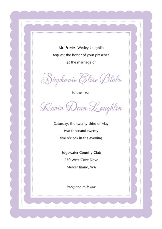 custom invitations - lilac - bella (set of 10)