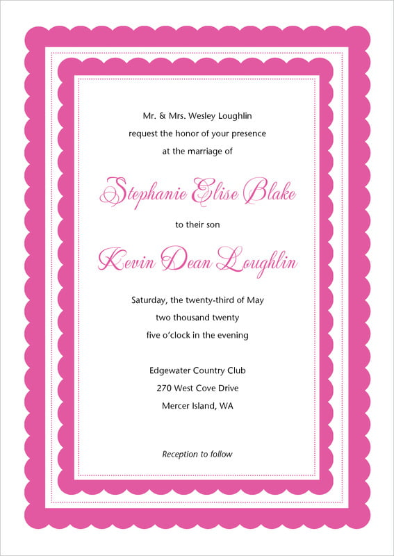 custom invitations - bright pink - bella (set of 10)