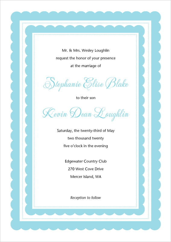 custom invitations - bahama blue - bella (set of 10)