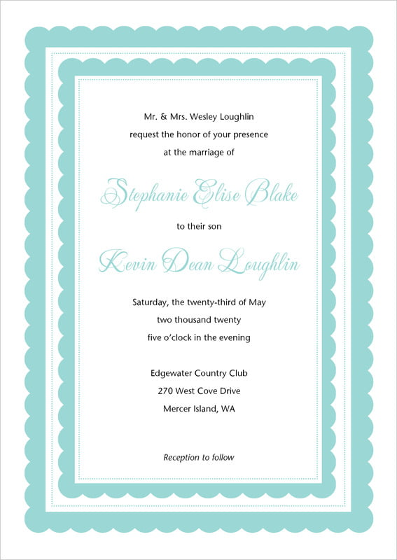 custom invitations - aruba - bella (set of 10)