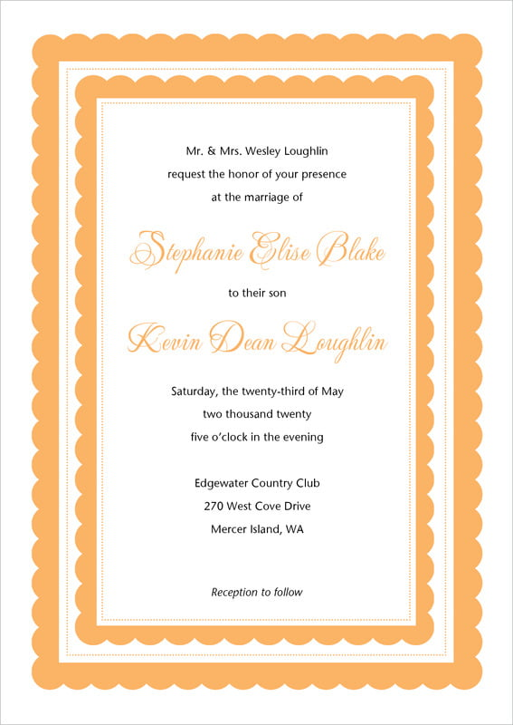 custom invitations - tangerine - bella (set of 10)
