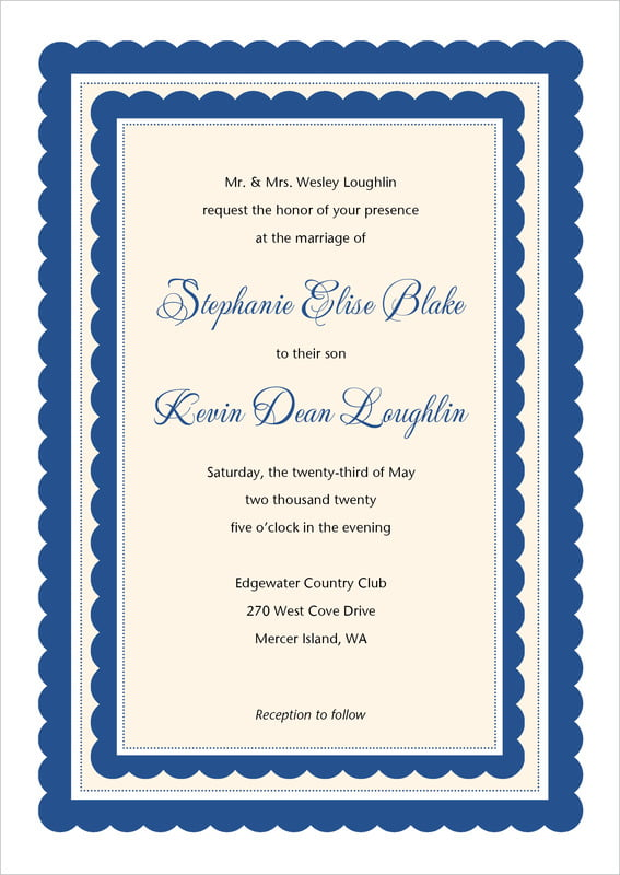 custom invitations - deep blue - bella (set of 10)