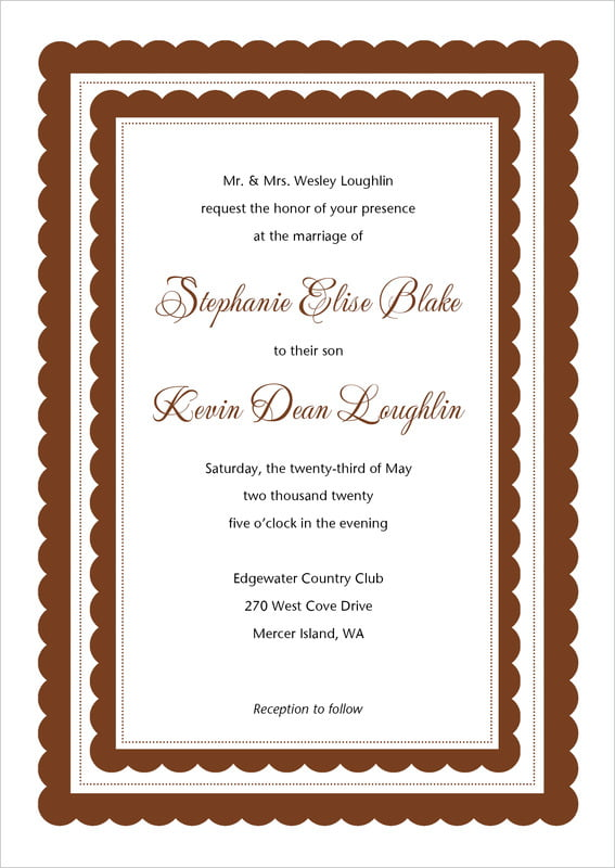 custom invitations - chocolate - bella (set of 10)