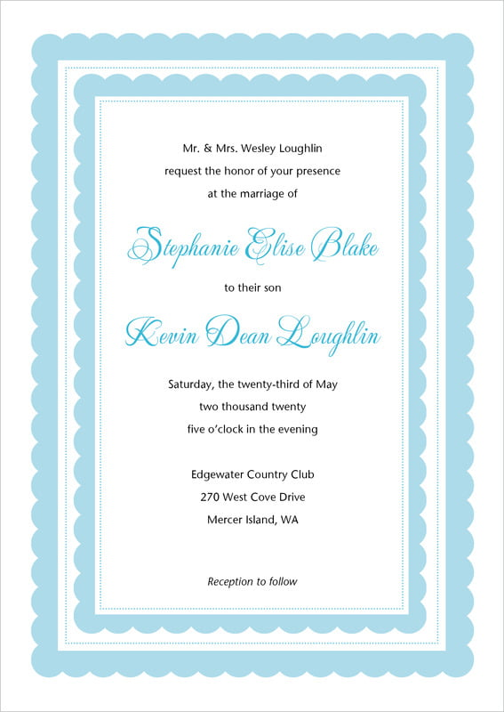 custom invitations - sky - bella (set of 10)