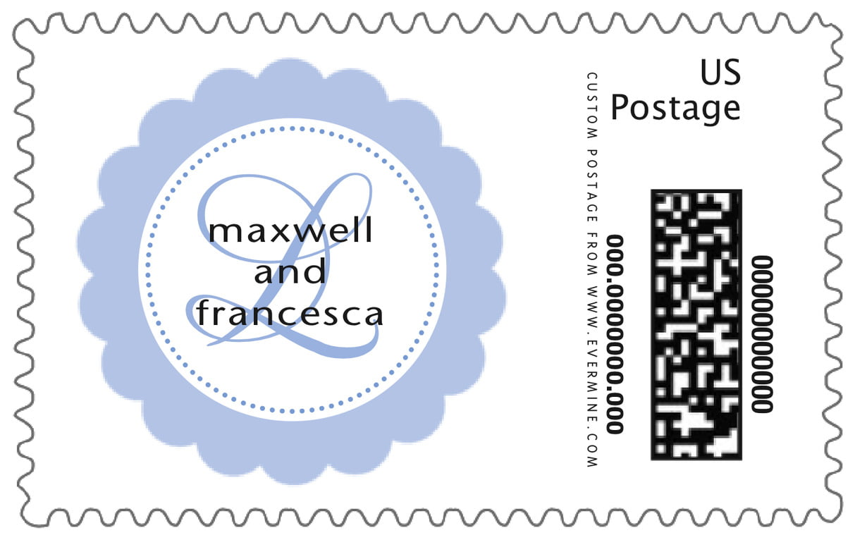 custom large postage stamps - periwinkle - bella (set of 20)