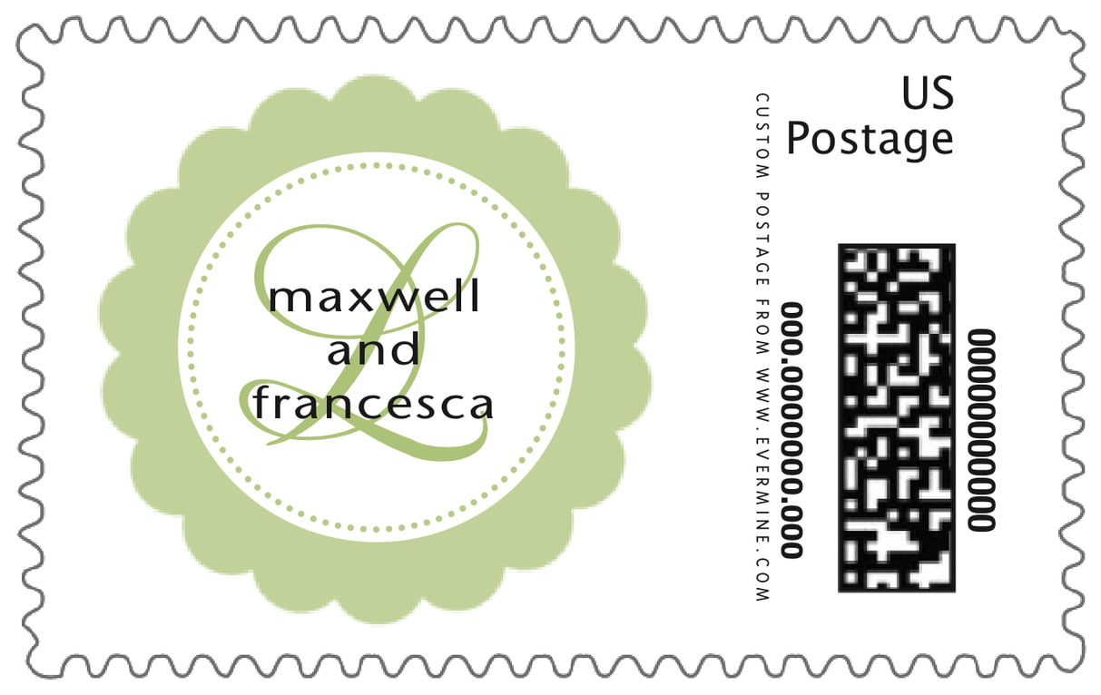 custom large postage stamps - green tea - bella (set of 20)