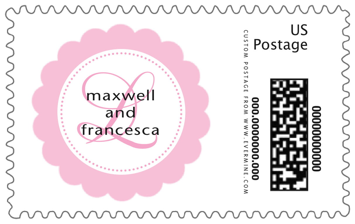 custom large postage stamps - pale pink - bella (set of 20)