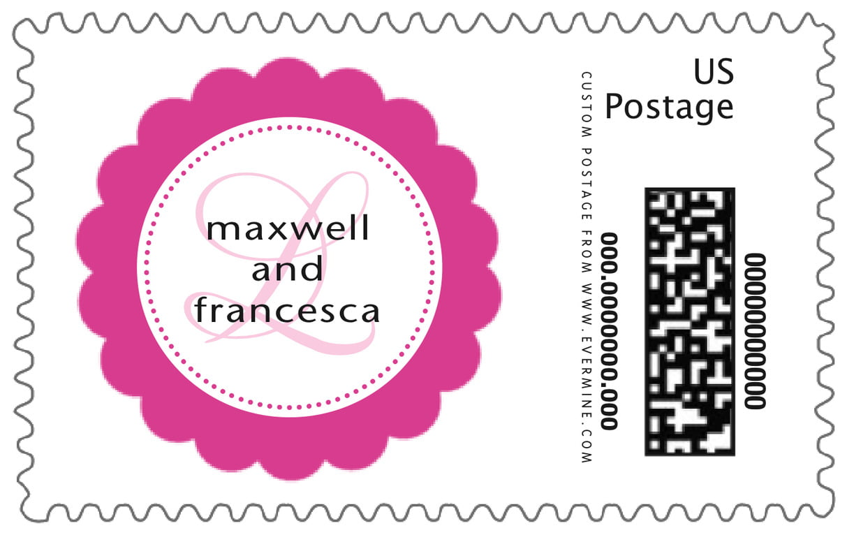 custom large postage stamps - bright pink - bella (set of 20)