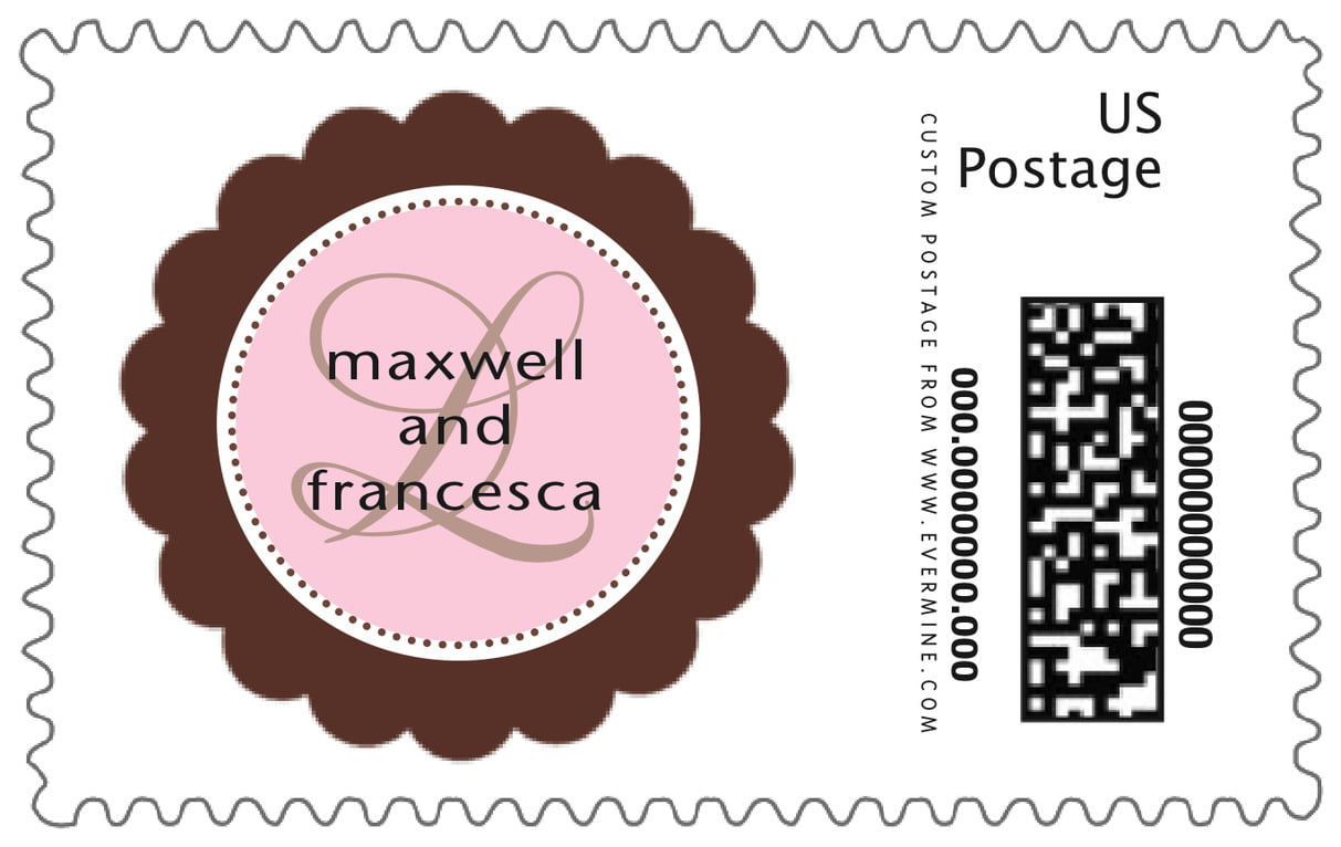 custom large postage stamps - cocoa & pink - bella (set of 20)