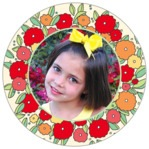 Summer Poppy Circle Photo Label In Red & Pale Green