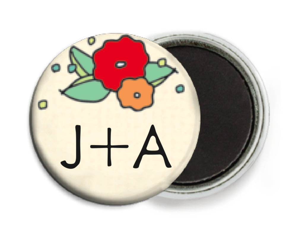 custom button magnets - red & pale green - summer poppy (set of 6)