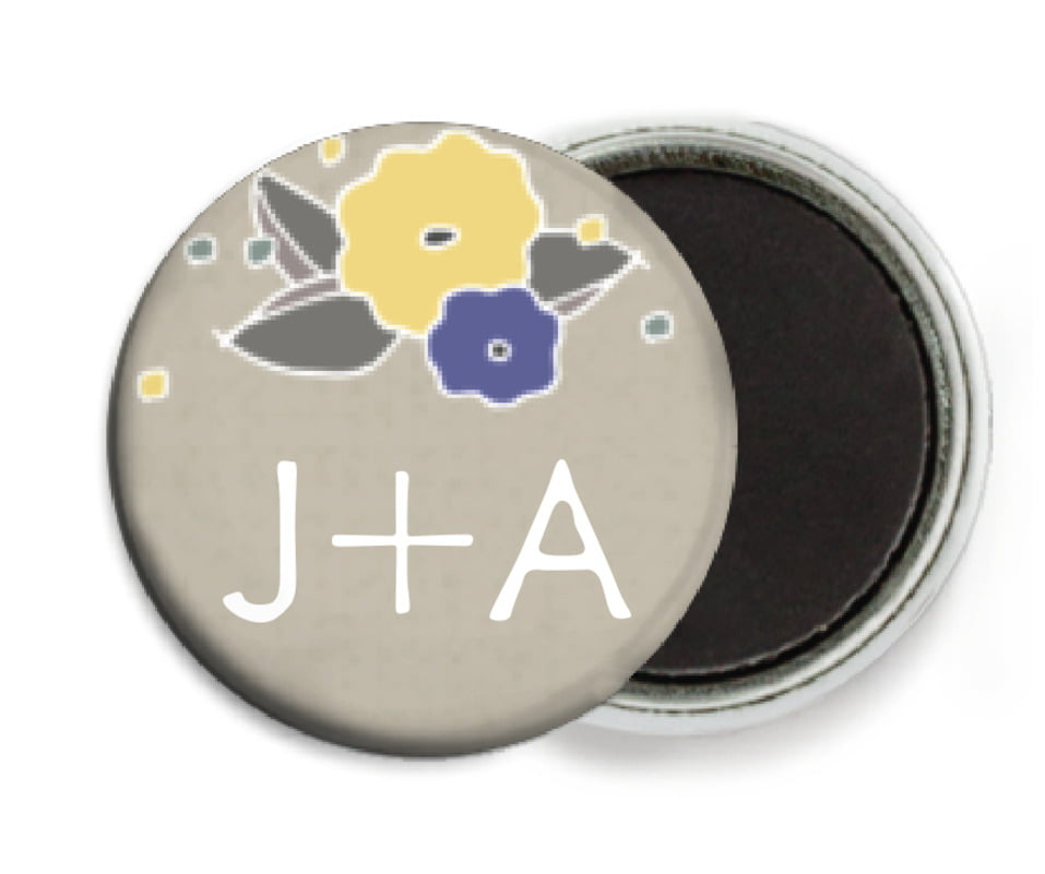 custom button magnets - blue & yellow - summer poppy (set of 6)