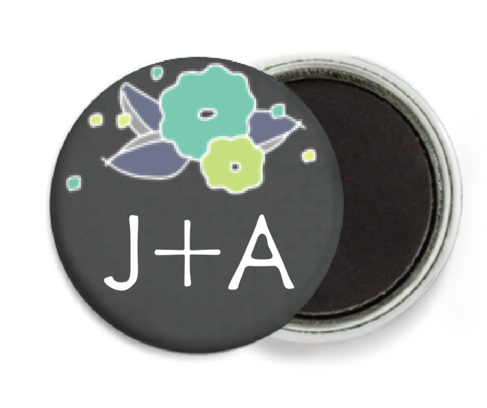 custom button magnets - pale green & turquiose - summer poppy (set of 6)