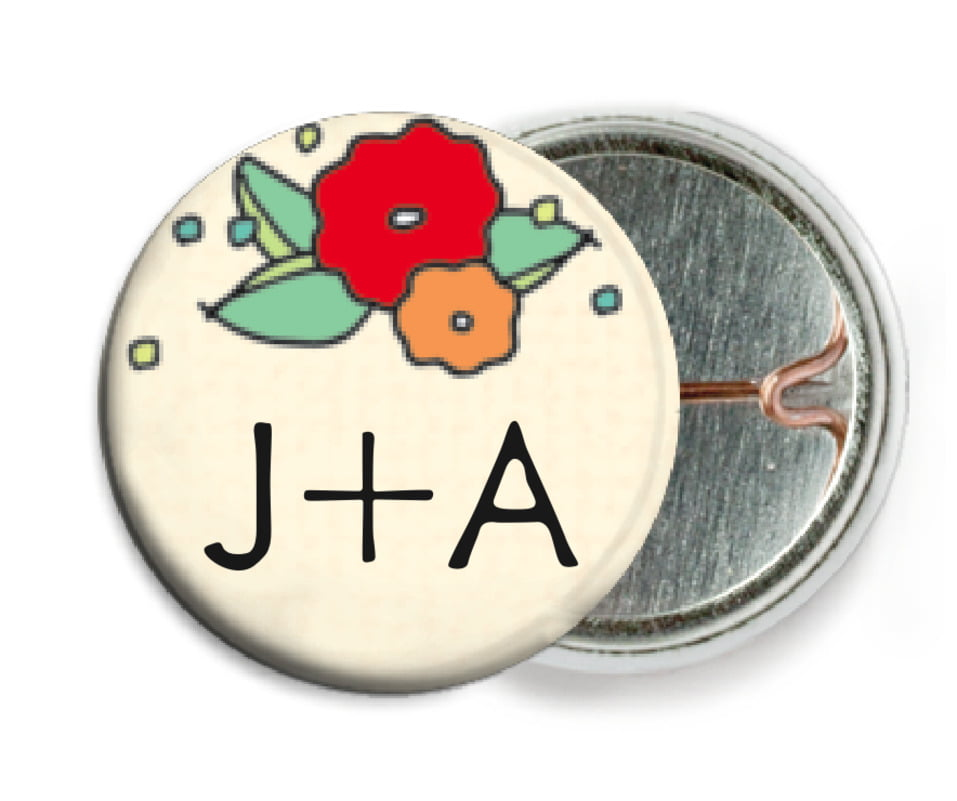 custom pin back buttons - red & pale green - summer poppy (set of 6)