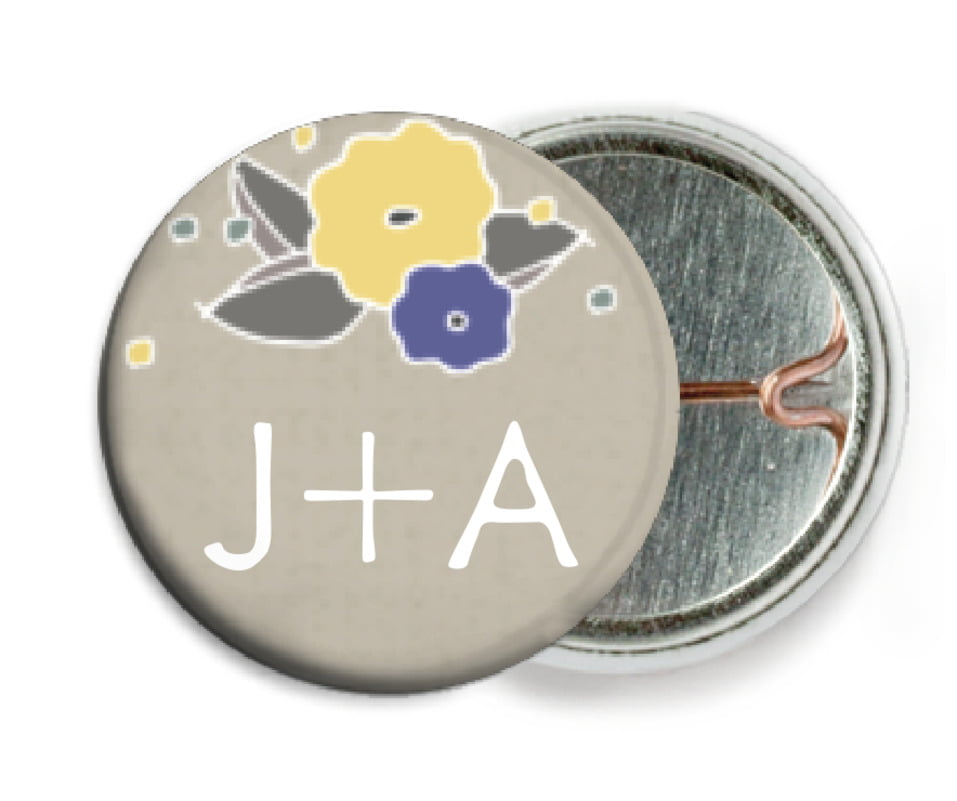custom pin back buttons - blue & yellow - summer poppy (set of 6)