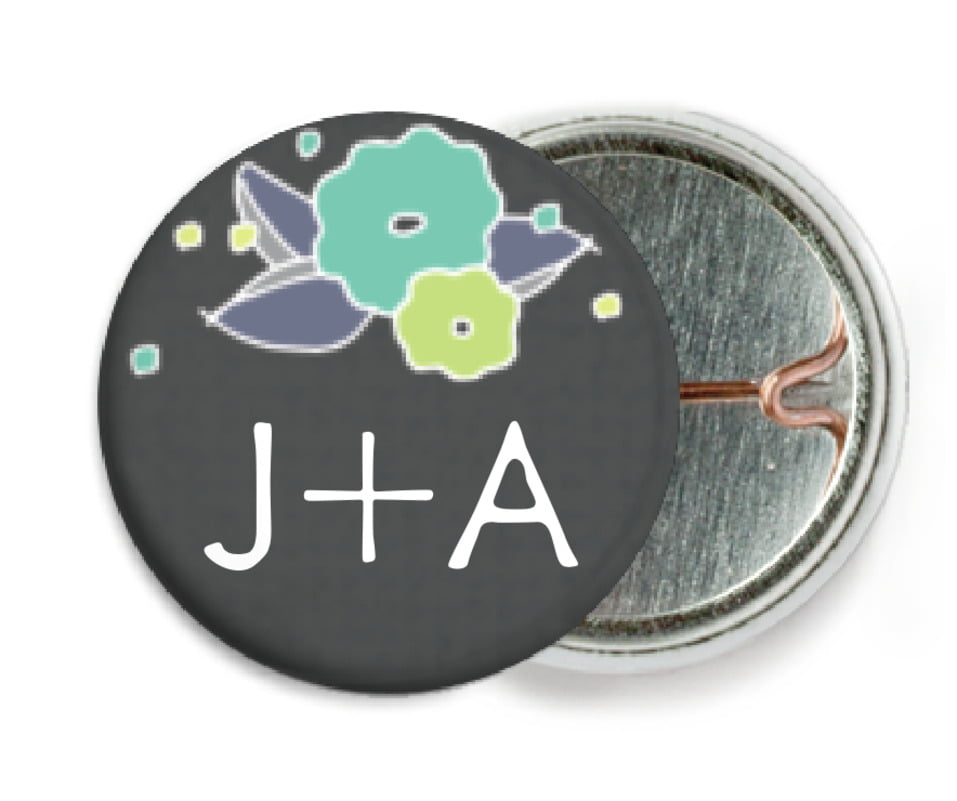 custom pin back buttons - pale green & turquiose - summer poppy (set of 6)
