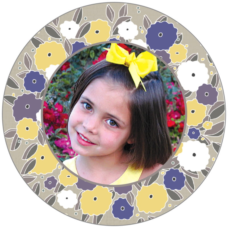circle photo labels - blue & yellow - summer poppy (set of 20)