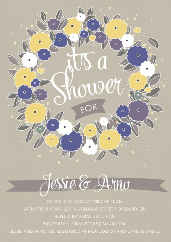 baby shower invitations - blue & yellow - summer poppy (set of 10)