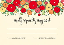 custom response cards - red & pale green - summer poppy (set of 10)
