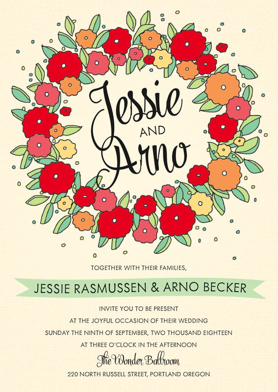 custom invitations - red & pale green - summer poppy (set of 10)