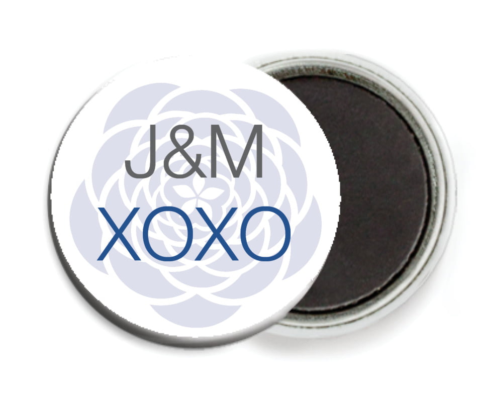 custom button magnets - deep blue - bouquet (set of 6)