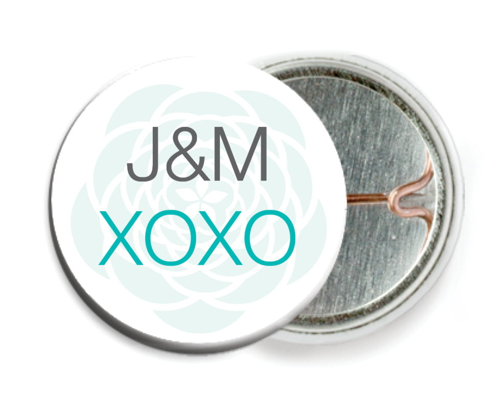 custom pin back buttons - turquoise - bouquet (set of 6)