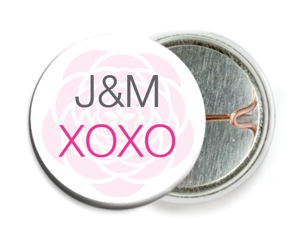 custom pin back buttons - bright pink - bouquet (set of 6)