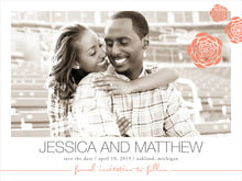 custom save-the-date cards - coral - bouquet (set of 10)