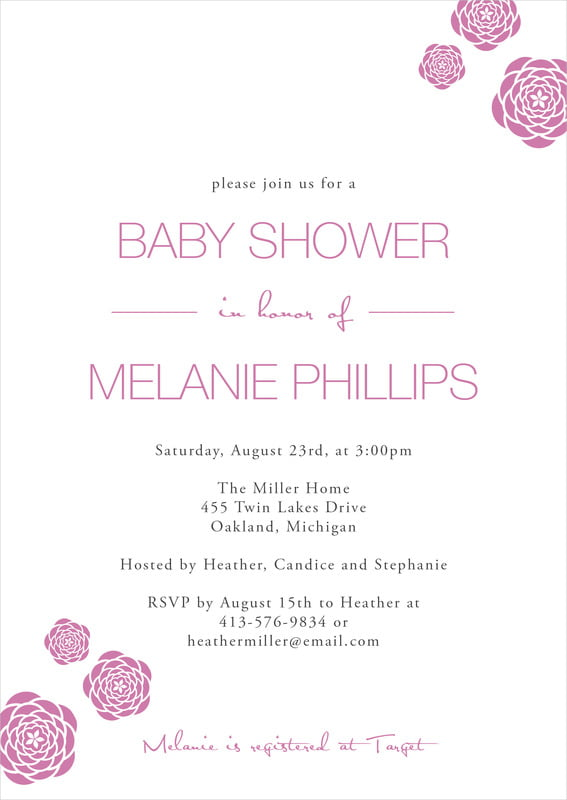 baby shower invitations - radiant orchid - bouquet (set of 10)