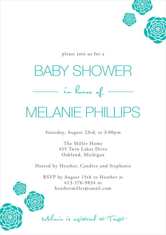 baby shower invitations - turquoise - bouquet (set of 10)
