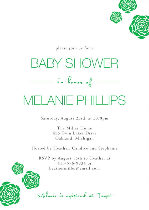 baby shower invitations - grass - bouquet (set of 10)