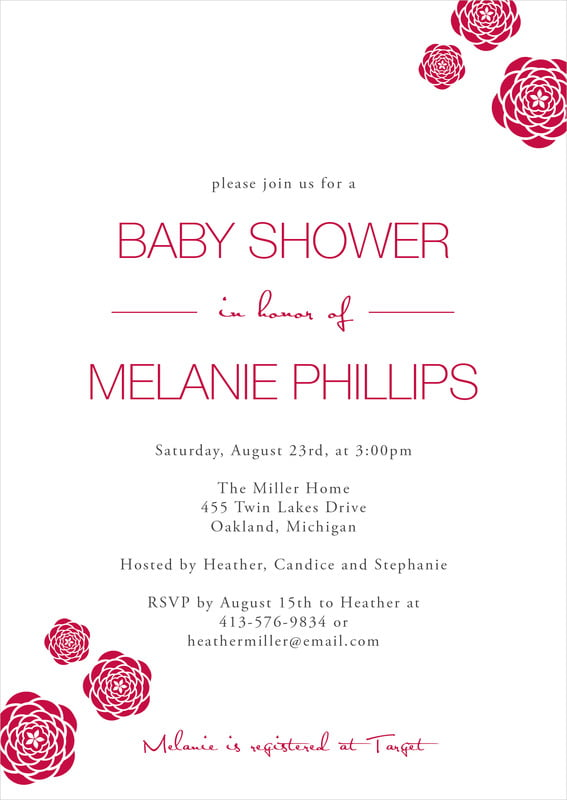 baby shower invitations - deep red - bouquet (set of 10)