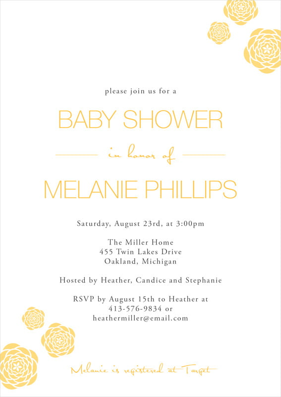 baby shower invitations - sunburst - bouquet (set of 10)