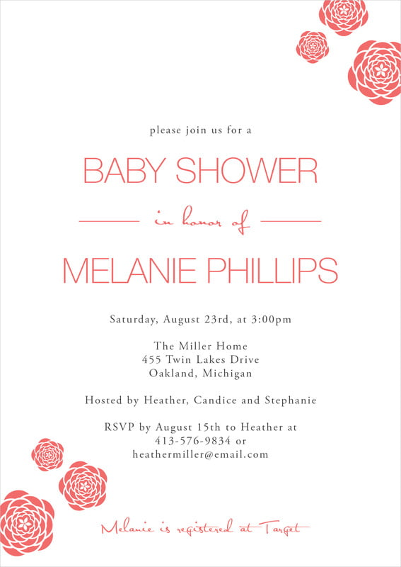 baby shower invitations - deep coral - bouquet (set of 10)