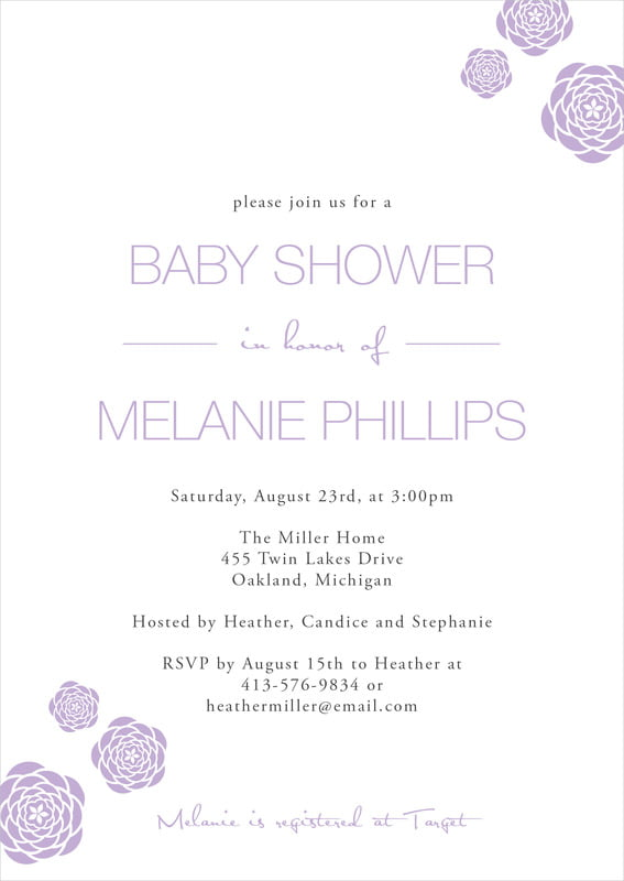 baby shower invitations - lilac - bouquet (set of 10)