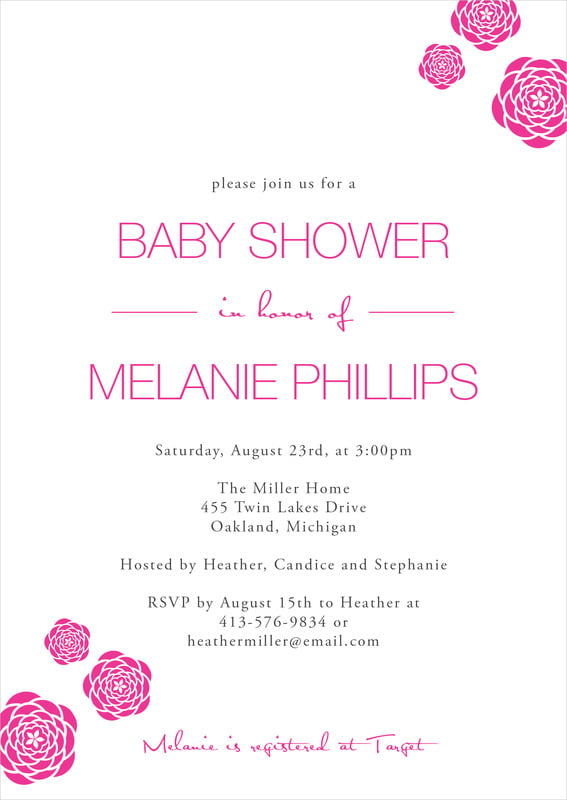 baby shower invitations - bright pink - bouquet (set of 10)