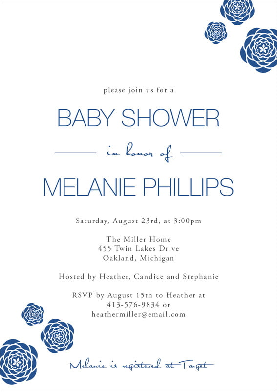 baby shower invitations - deep blue - bouquet (set of 10)