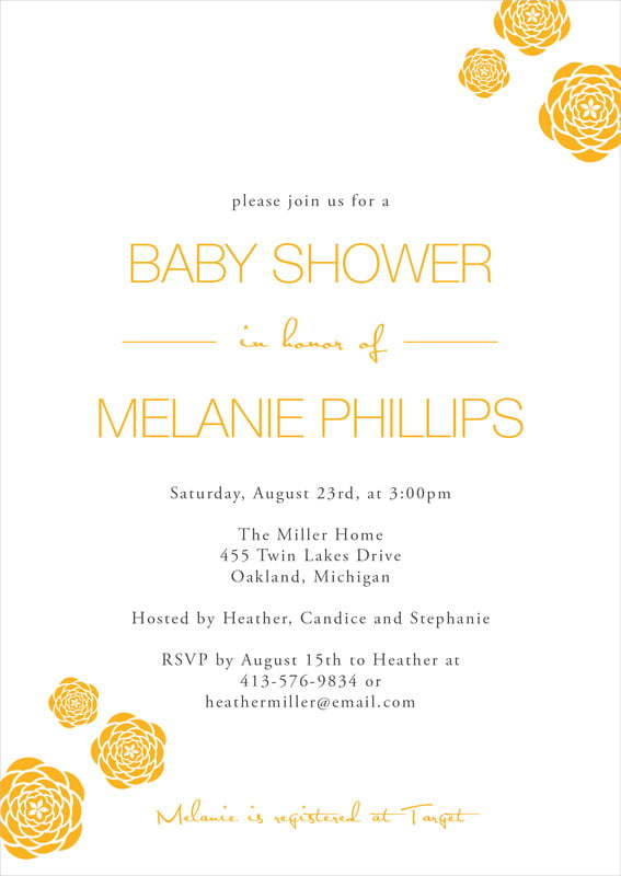 baby shower invitations - orange - bouquet (set of 10)