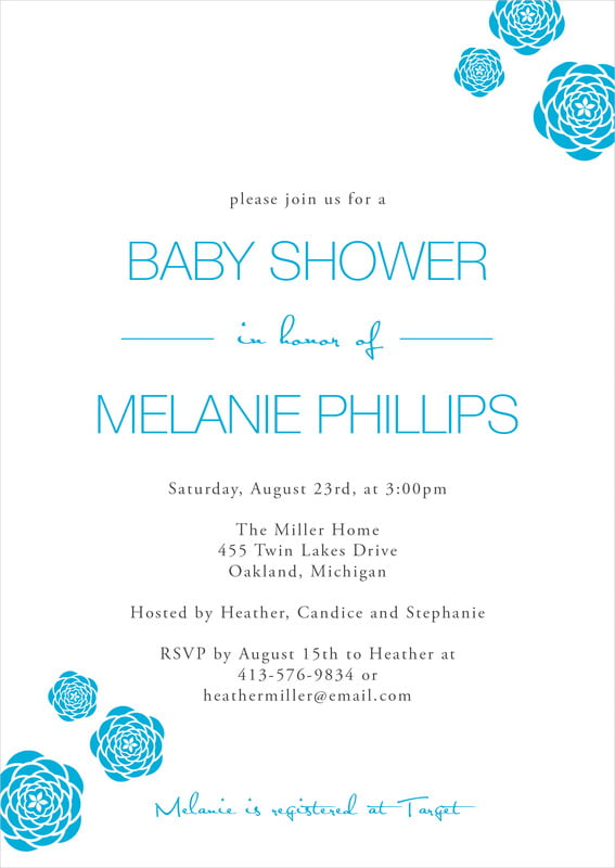 baby shower invitations - sky - bouquet (set of 10)