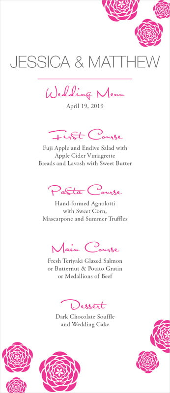 custom menus - bright pink - bouquet (set of 10)