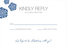 custom response cards - deep blue - bouquet (set of 10)