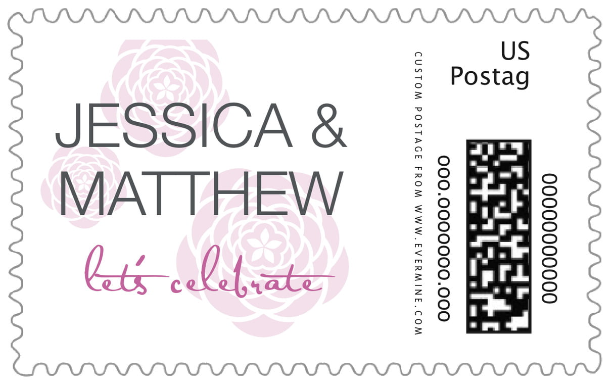custom large postage stamps - radiant orchid - bouquet (set of 20)