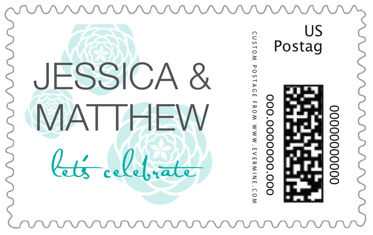 custom large postage stamps - turquoise - bouquet (set of 20)
