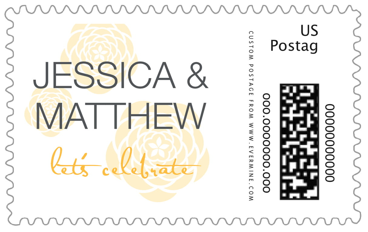 custom large postage stamps - sunburst - bouquet (set of 20)